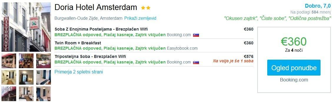 Bo i v amsterdamu povratna letalska karta in 4 no itve v for Hotel doria amsterdam