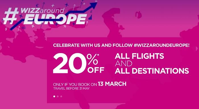 WIZZAIR PROMOCIJA! 20% popusta na vse lete v številne evropske destinacije